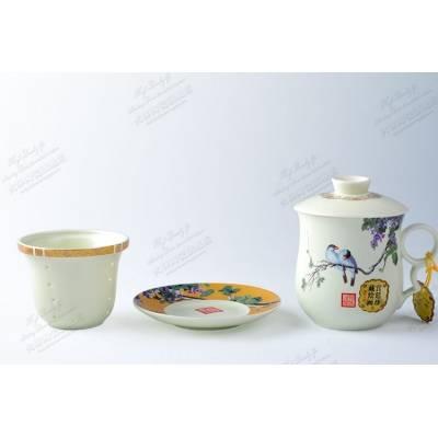 景德镇高档金边花鸟陶瓷茶杯 骨瓷茶具茶杯四件套带茶漏 老板杯