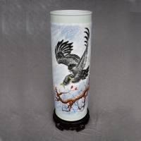 景德镇志在千里名人花瓶 陶瓷手绘落地花瓶