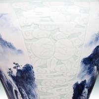 景德镇1.3米山水陶瓷花瓶 手工高档花瓶