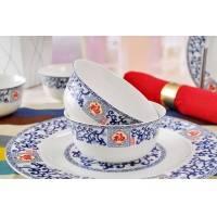 景德镇56头优级骨质瓷餐具 釉中彩宫廷汤锅 金钟碗 五福临门