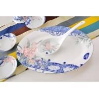 景德镇56头骨质瓷釉中彩餐具 双耳锅 高脚碗 庭前兰花