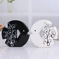 景德镇现代时尚简约工艺品摆件 创意抽象黑白鱼