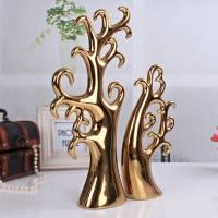 景德镇现代礼品 陶瓷摆件 电镀金银爱情树
