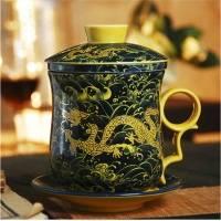 景德镇办公四件套茶杯 帝王黄黄海龙水杯