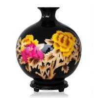 景德镇中国红镶金麦秆花瓶 现代时尚家饰摆件 黑色款