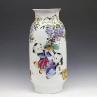 景德镇名人名作 纯手工陶瓷花瓶 彭湘龙作品 【福娃】