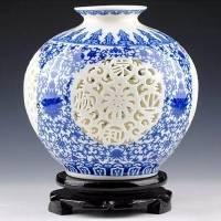景德镇薄胎镂空青花瓷花瓶 陶瓷石榴家居工艺品摆件
