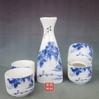 景德镇日式5件套青花酒具套装 【明月清风】