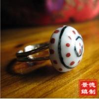 景德镇蘑菇图型陶瓷戒指 厂家直销复古可爱戒指批发