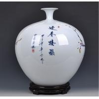 景德镇陶瓷大师手绘高档花瓶 家居工艺摆件【周华兰作品】