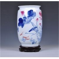 景德镇陶瓷名人花瓶 手绘斗彩荷花大口花瓶 带证书【胡慧中作品】