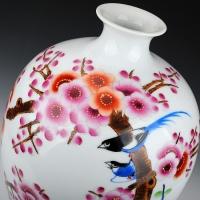 景德镇名人名家韩萍辉手绘粉彩花瓶 收藏证书【鸟上眉梢】