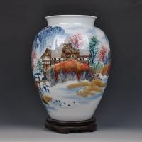 景德镇高档陶瓷名家手绘花瓶 新华作品【古寨冬瓜瓶】