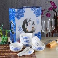 批发定制活动促销礼品青花瓷碗套装送客户婚庆小礼品陶瓷碗勺餐具