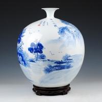 景德镇陶瓷手工名人山水石榴花瓶 客厅装饰摆件【潇湘风情】