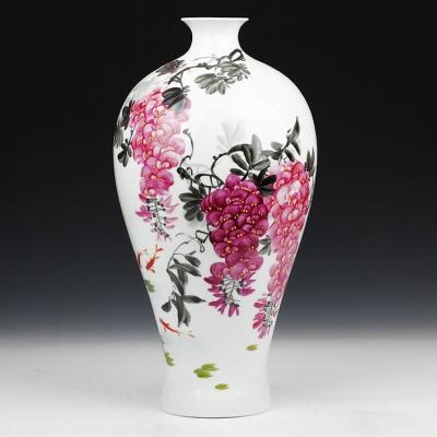 景德镇陶瓷高档名人名作手绘紫气东来花瓶 带收藏证书