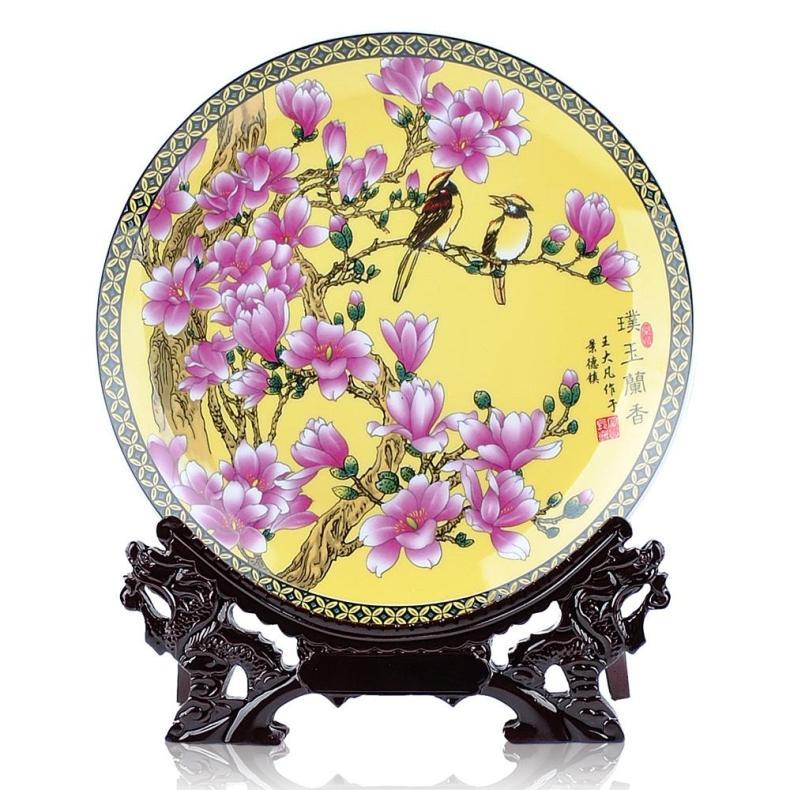 景德镇工艺品瓷挂盘 现代家居摆件陶瓷盘【黄色兰香】