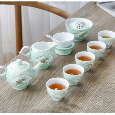 景德镇10头青釉高档礼品茶具套装 青瓷功夫茶具