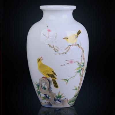 景德镇陶瓷器手绘花瓶 名家手绘玲珑雕刻黄鹂鸣春花瓶