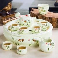 景德镇陶瓷大茶盘功夫茶具 10头高档礼品茶具套装【雀跃三福】
