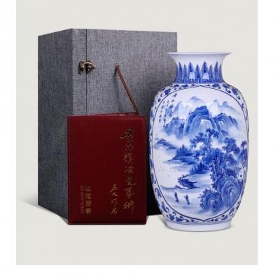 景德镇名家手绘陶瓷花瓶 中式家居客厅陶瓷装饰品 带证书