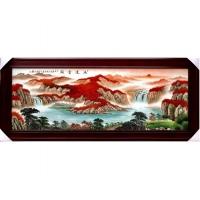 景德镇手绘山水风景画瓷板画 客厅办公室陶瓷装饰挂画【鸿运当头】