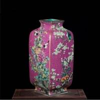 景德镇陶瓷珐琅彩粉彩仿古花瓶 明清古典客厅陶瓷摆件花瓶【花鸟牡丹】