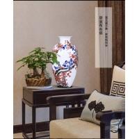 景德镇名家手绘青花瓷薄胎花瓶 中式客厅摆件家居饰品