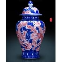 景德镇仿古手绘青花釉里红陶瓷将军罐 明清古典将军罐