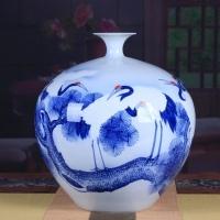 景德镇手绘大号陶瓷石榴瓶 家居艺术装饰瓷【松鹤延年】