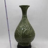 景德镇明龙泉开片雕刻人物玉壶春瓶 老货收藏仿古古董古玩瓷器