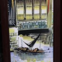 景德镇民国粉彩四块一套现代仿古工艺品家居瓷板画【江南风光瓷板】