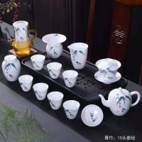 景德镇15头手工礼品茶具套装 高白瓷精美制作【喜竹】