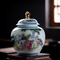 景德镇精品仿古婴戏人物 粉彩茶叶罐 一对2只茶叶罐 1斤装